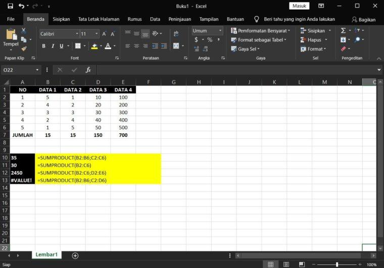 Contoh ke-1 Penggunaan Rumus SUMPRODUCT Excel