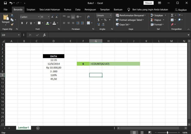 Contoh ke-2 Penggunaan Rumus COUNT Excel