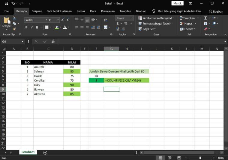 Contoh ke-2 Penggunaan Rumus COUNTIF Excel