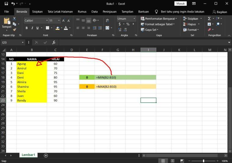 Contoh ke-2 Penggunaan Rumus MIN Excel