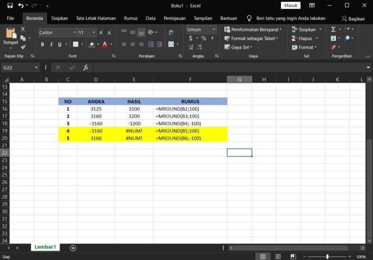 Contoh ke-2 Penggunaan Rumus MROUND Excel