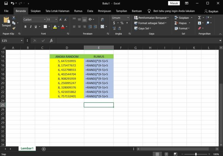 Contoh ke-2 Penggunaan Rumus RAND Excel