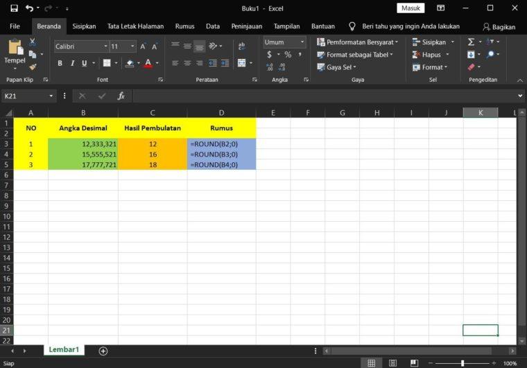 Contoh ke-2 Penggunaan Rumus ROUND Excel