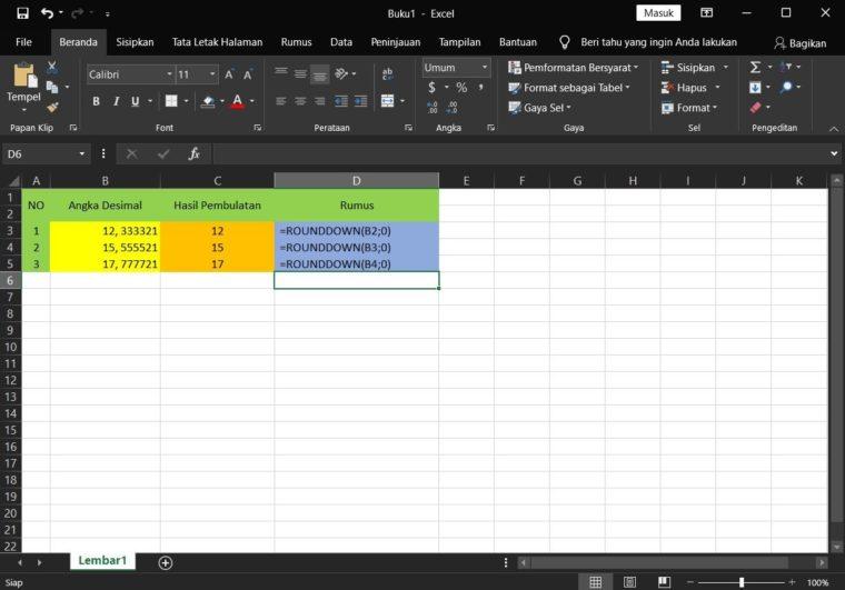 Contoh ke-2 Penggunaan Rumus ROUNDDOWN Excel