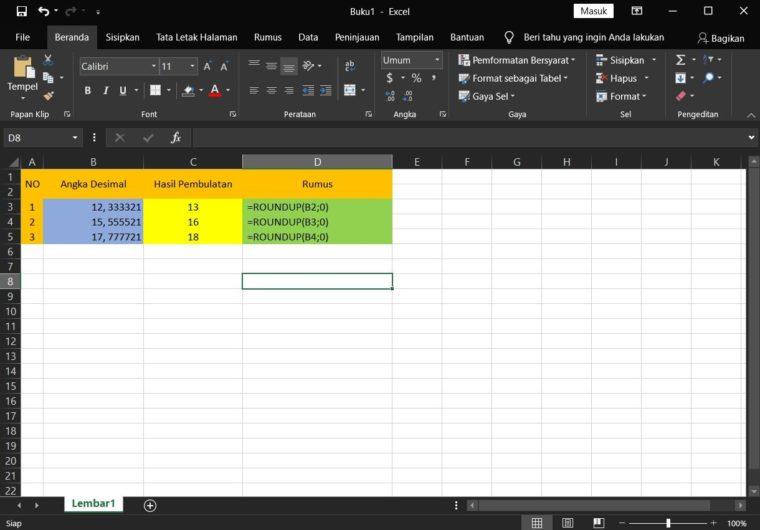 Contoh ke-2 Penggunaan Rumus ROUNDUP Excel