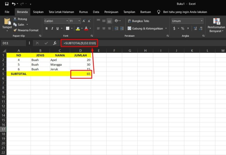 Contoh ke-2 Penggunaan Rumus SUBTOTAL Excel