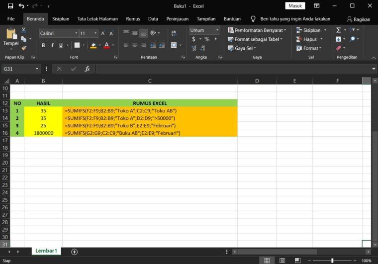 Contoh ke-2 Penggunaan Rumus SUMIFS Excel