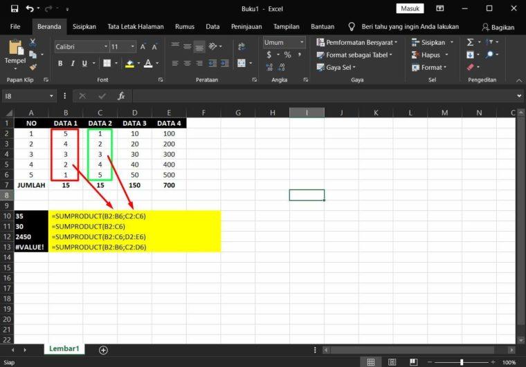 Contoh ke-2 Penggunaan Rumus SUMPRODUCT Excel