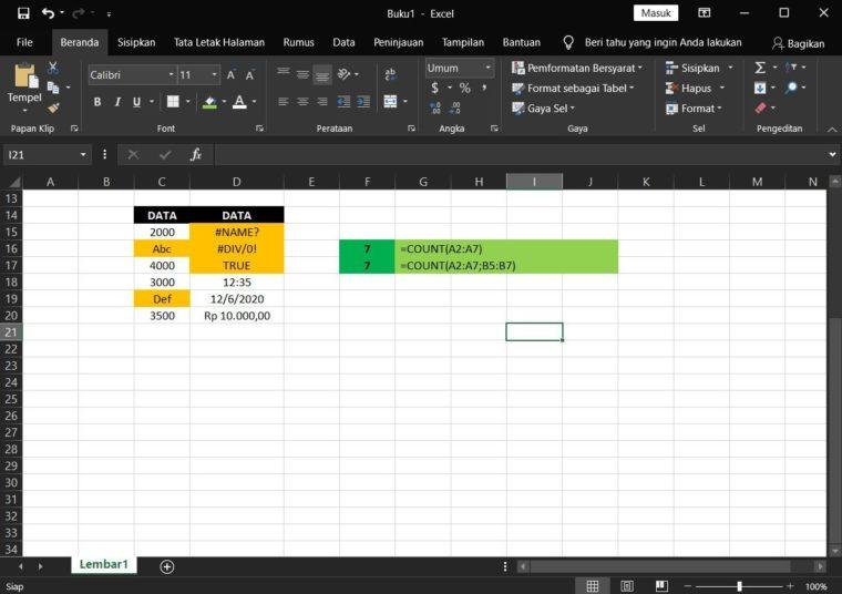 Contoh ke-3 Penggunaan Rumus COUNT Excel