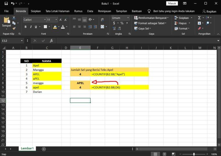 Contoh ke-3 Penggunaan Rumus COUNTIF Excel