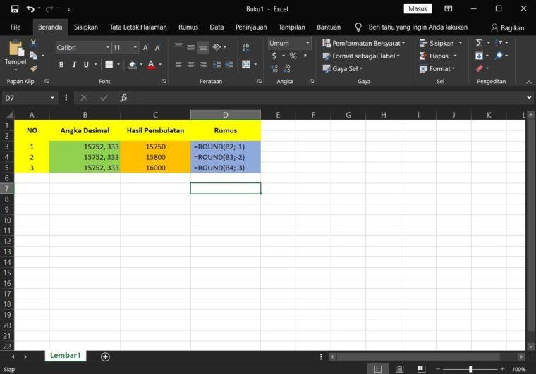 Contoh ke-3 Penggunaan Rumus ROUND Excel