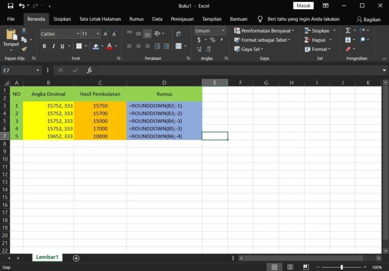 Contoh ke-3 Penggunaan Rumus ROUNDDOWN Excel