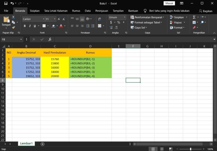 Contoh ke-3 Penggunaan Rumus ROUNDUP Excel