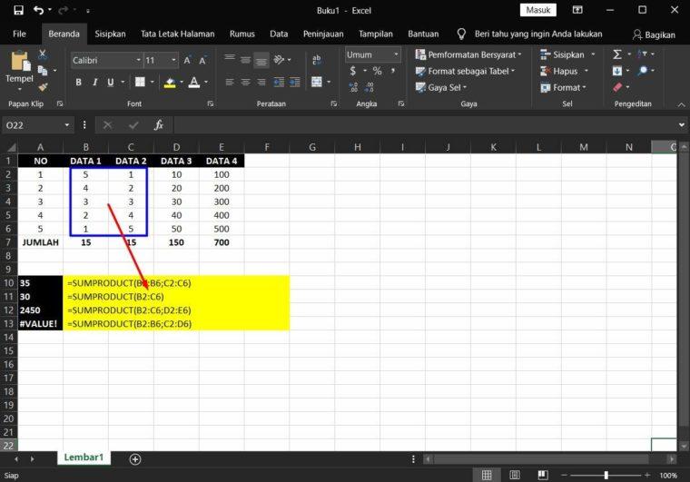 Contoh ke-3 Penggunaan Rumus SUMPRODUCT Excel