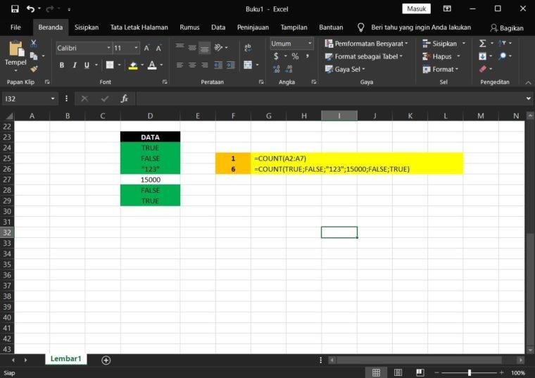 Contoh ke-4 Penggunaan Rumus COUNT Excel