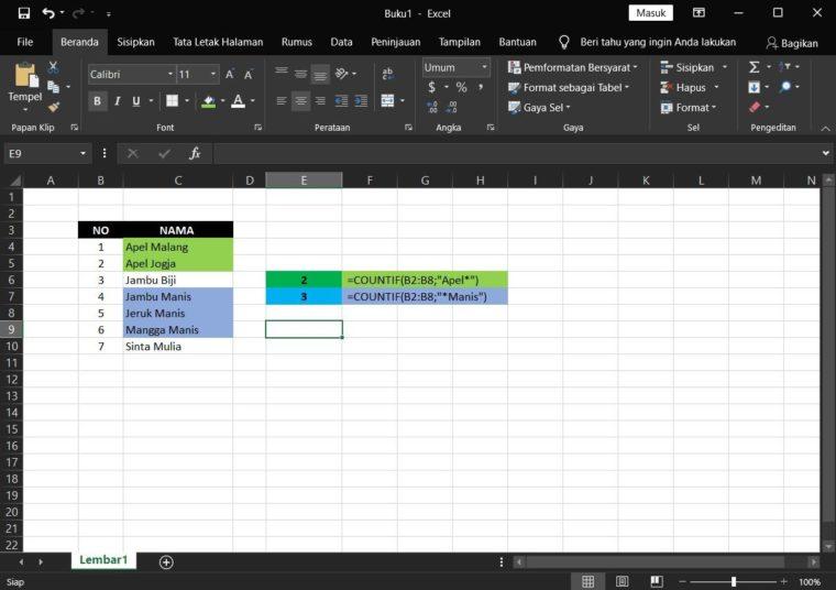 Contoh ke-4 Penggunaan Rumus COUNTIF Excel