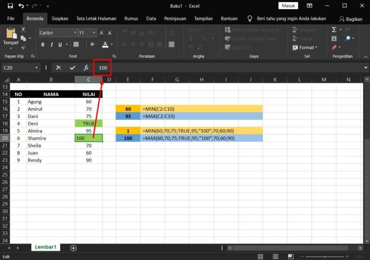 Contoh ke-4 Penggunaan Rumus MAX Excel