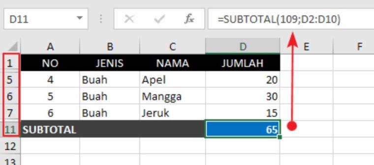 Contoh ke-4 Penggunaan Rumus SUBTOTAL Excel
