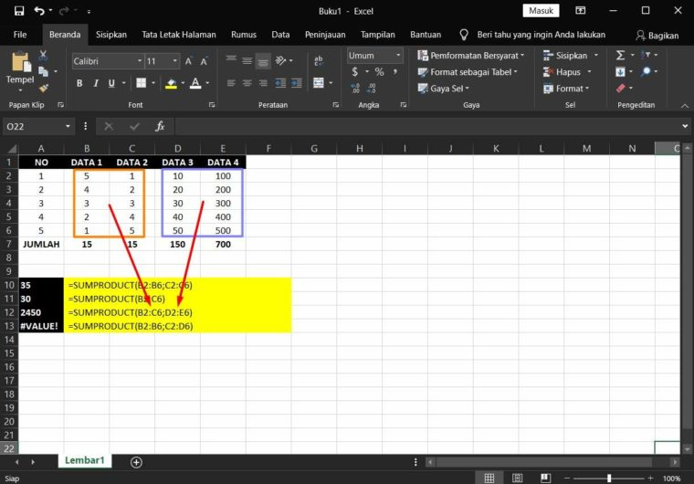 Contoh ke-4 Penggunaan Rumus SUMPRODUCT Excel