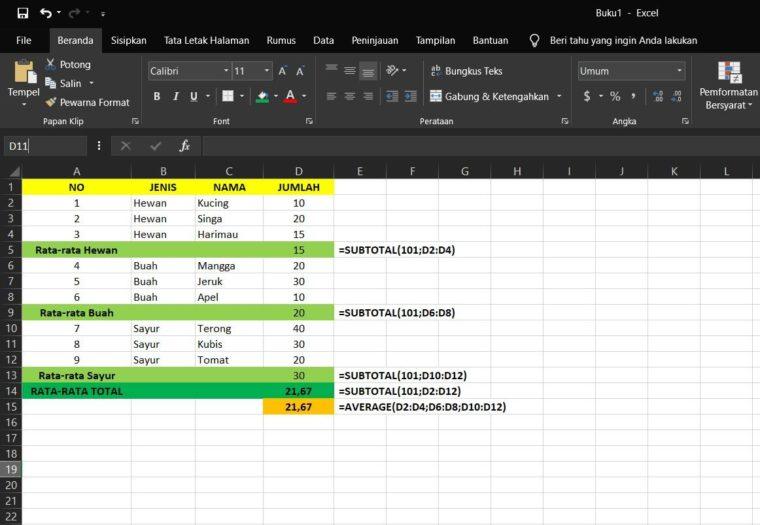 Contoh ke-5 Penggunaan Rumus SUBTOTAL Excel