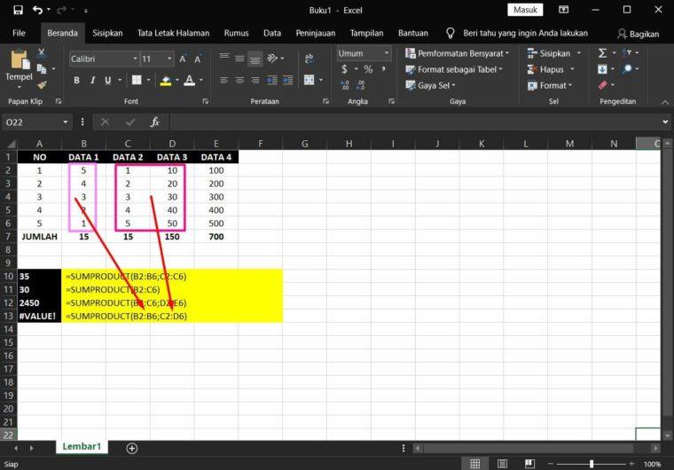 Contoh ke-5 Penggunaan Rumus SUMPRODUCT Excel