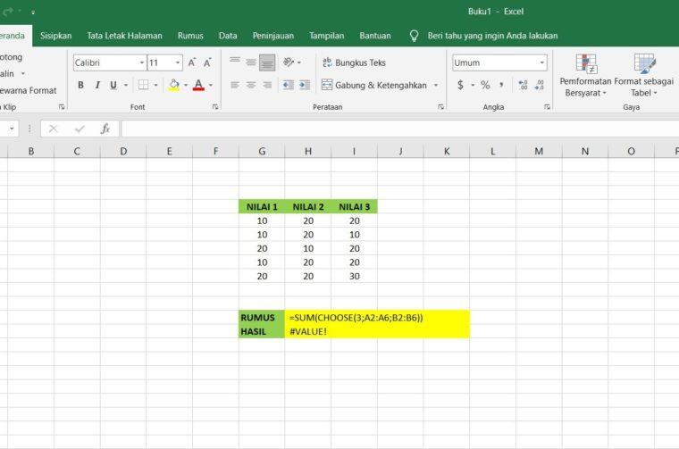 Gambar Catatan ke-1 Penggunaan Fungsi CHOOSE Excel