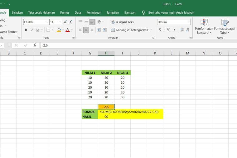 Gambar Catatan ke-2 Penggunaan Fungsi CHOOSE Excel