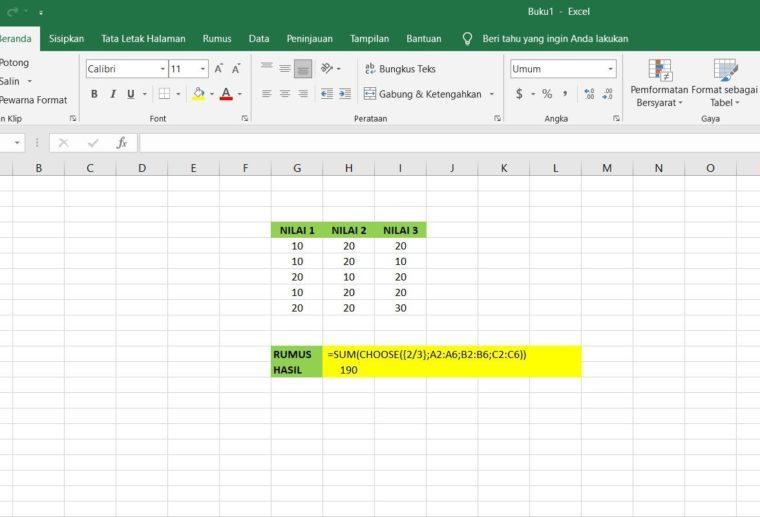 Gambar Catatan ke-3 Penggunaan Fungsi CHOOSE Excel