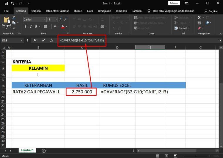 Hasil Penggunaan Rumus DAVERAGE Excel