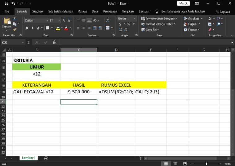 Hasil Penggunaan Rumus DSUM Excel