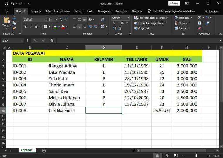 Contoh Penggunaan Rumus DCOUNT Excel