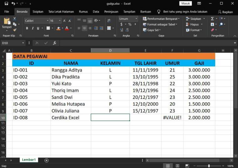 Contoh Penggunaan Rumus DCOUNTA Excel