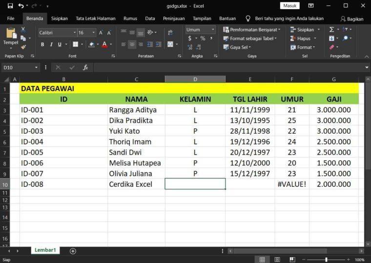 Contoh Penggunaan Rumus DMIN Excel