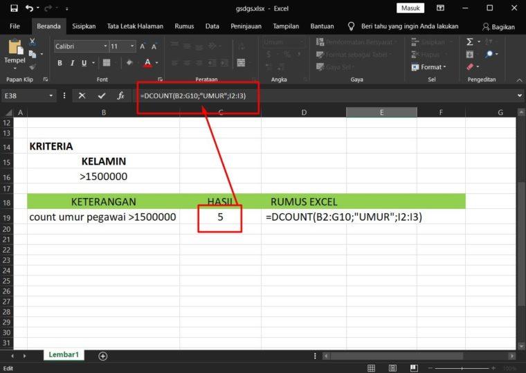 Hasil Penggunaan Rumus DCOUNT Excel