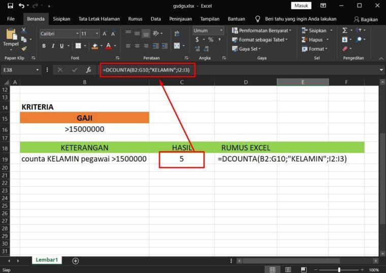 Hasil Penggunaan Rumus DCOUNTA Excel