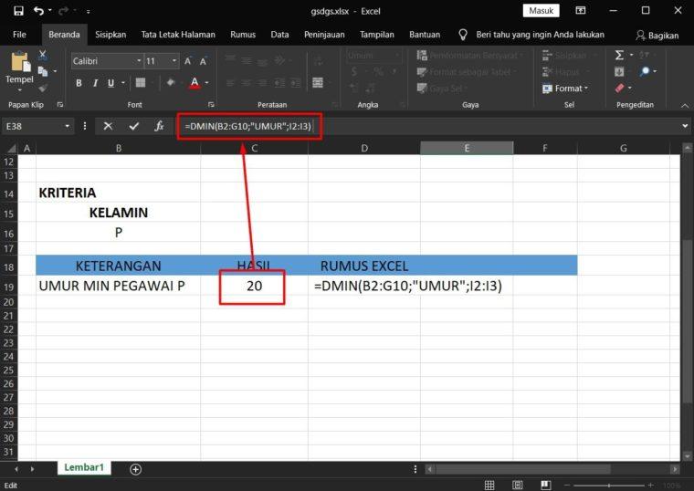 Hasil Penggunaan Rumus DMIN Excel